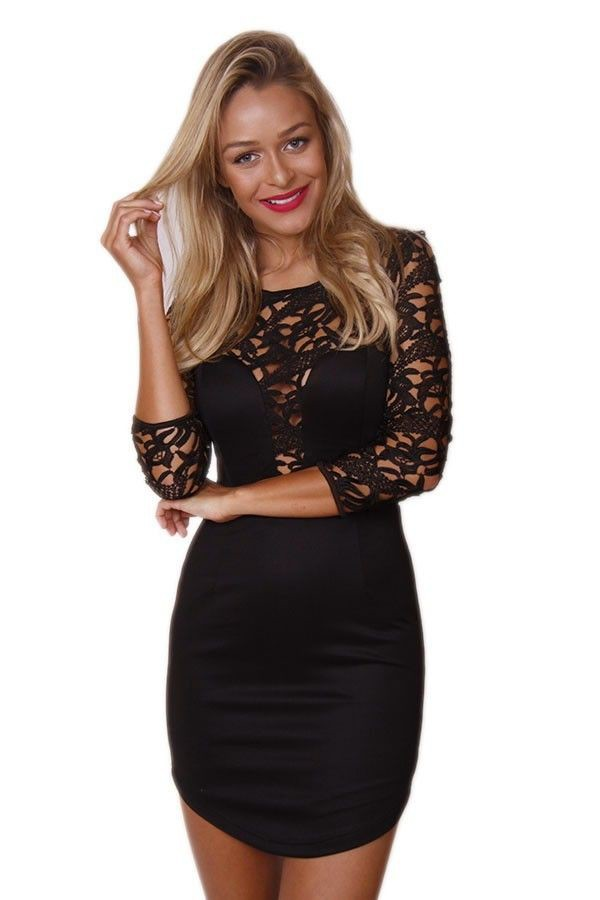 black lace lace dress lace sleeves black bodycon bodice front dress www.ustrendy.com