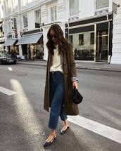 coat,olive green,trench coat,knitted sweater,white shirt,jeans,cropped jeans,high waisted jeans,flats,slingbacks,handbag,sunglasses