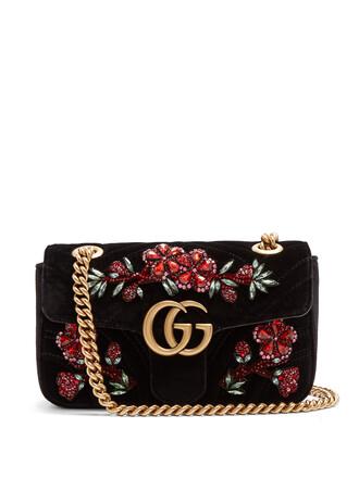 cross mini quilted bag velvet black