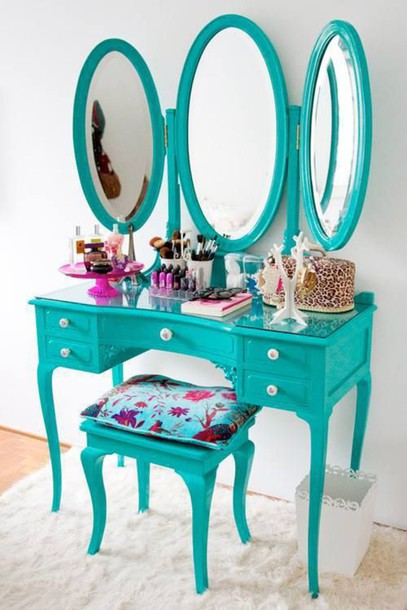 home accessory makeup table makeup table turquoise girly