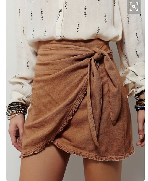 skirt white shiirt wrap skirt camel skirt mini skirt shirt stacked bracelets bracelets suede skirt boho bow wrapped skirt ruched printed shirt back to school summer outfits fall outfits fall colors !!help me!! i want this socks cute love need