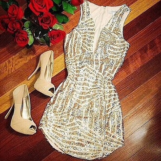 dress high heels thight dress fitted dress gold dress glitter dress short dress