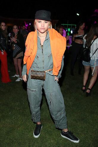 jumpsuit sofia richie coachella coachella outfit sneakers hat pants khaki pants top