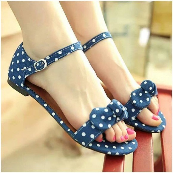 shoes dots sandals bow