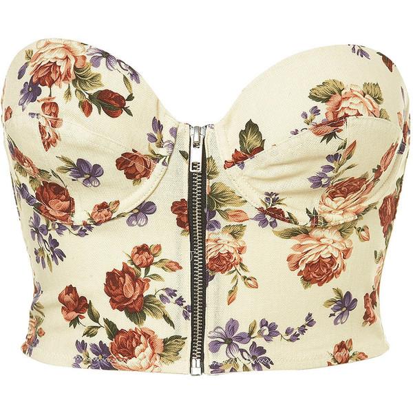 Floral Zip Front Bralet