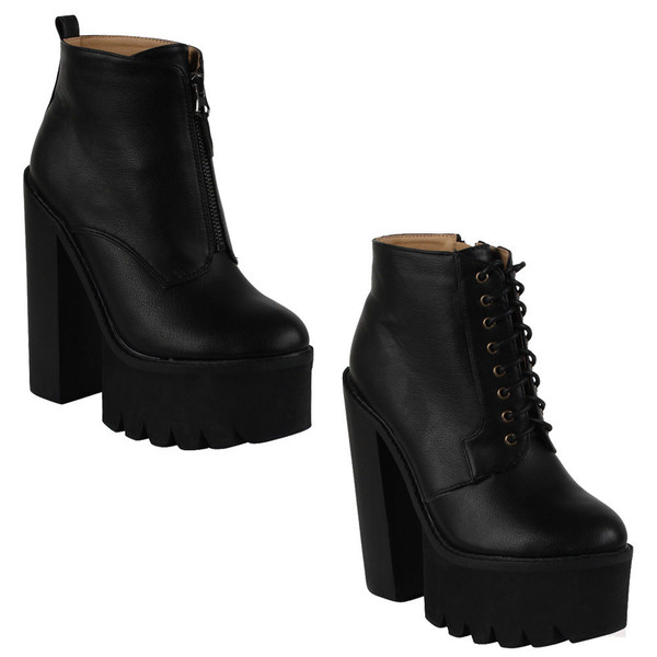 shoes boots black leather zip chunky sole high heels