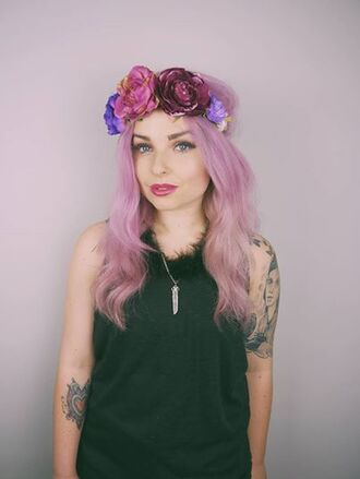 hair accessory flowers headband hippie boho pastel goth melon lady helen anderson gem jewels pastel hair