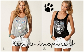 tank top grey grey top kenzo inspired nelly tiger summer