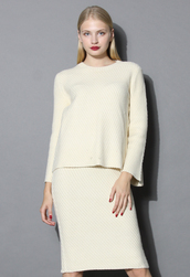 top,sassy cream twill knit top and skirt set,chicwish,top and skirt set