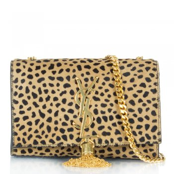 Saint Laurent Leopard Monogramme Small Tassel Shoulder Bag
