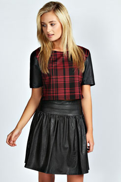 Farah Zip Through PU Skater Skirt at boohoo.com