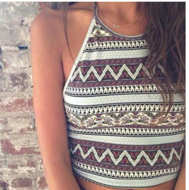 tank top halter neck tribal cardigan tribal pattern halter neck