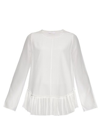 blouse pleated silk top