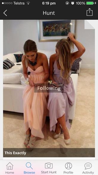 dress long prom dress peach dresses purple dress