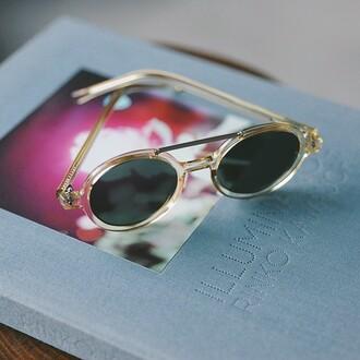 sunglasses ontheblock komono sunnies shades round round sunglasses gold golden sunglasses