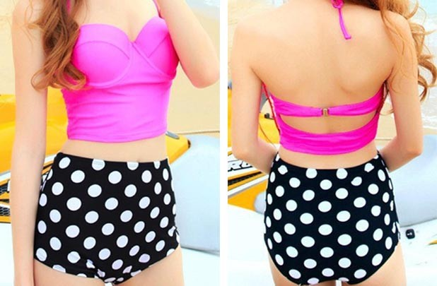 GroopDealz | Retro Polka Dot High Waisted Bikini