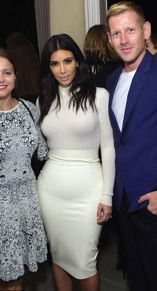 kim kardashian skirt white faux leather