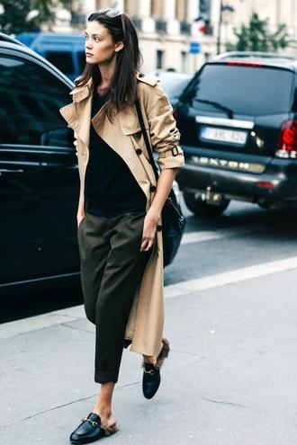 le fashion image blogger coat jewels sweater bag pants