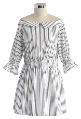 dress edgy stripes off-shoulder dress chicwish off-shoulder dress striped dress summer dress lady dress