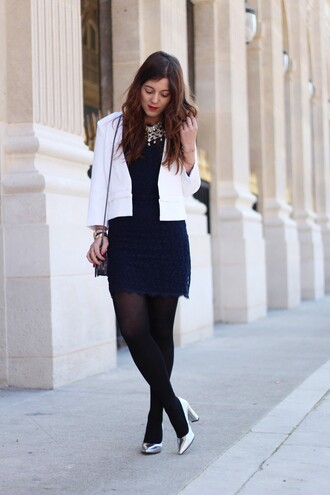 elodie in paris blogger navy dress classy office outfits