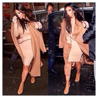 dress kim kardashian nude camel long sleeve dress