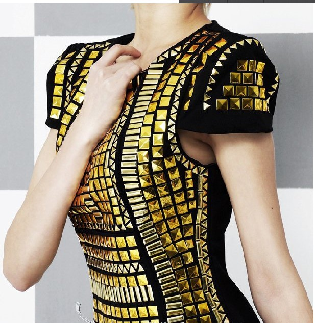 Free shipping new women sexy stylish new gold sequins geometry fit dress.Party pencil dress M L rivet dresses-in Dresses from Apparel & Accessories on Aliexpress.com
