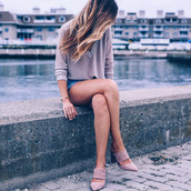 shoes,suede mule,shorts,denim shorts,sweater,pink sweater,pink shoes,mules