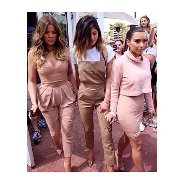 pants jumpsuit kylie jenner khloe kardashian kim kardashian keeping up with the kardashians keeping up with the kardashians tan peach pink miami celebrity style