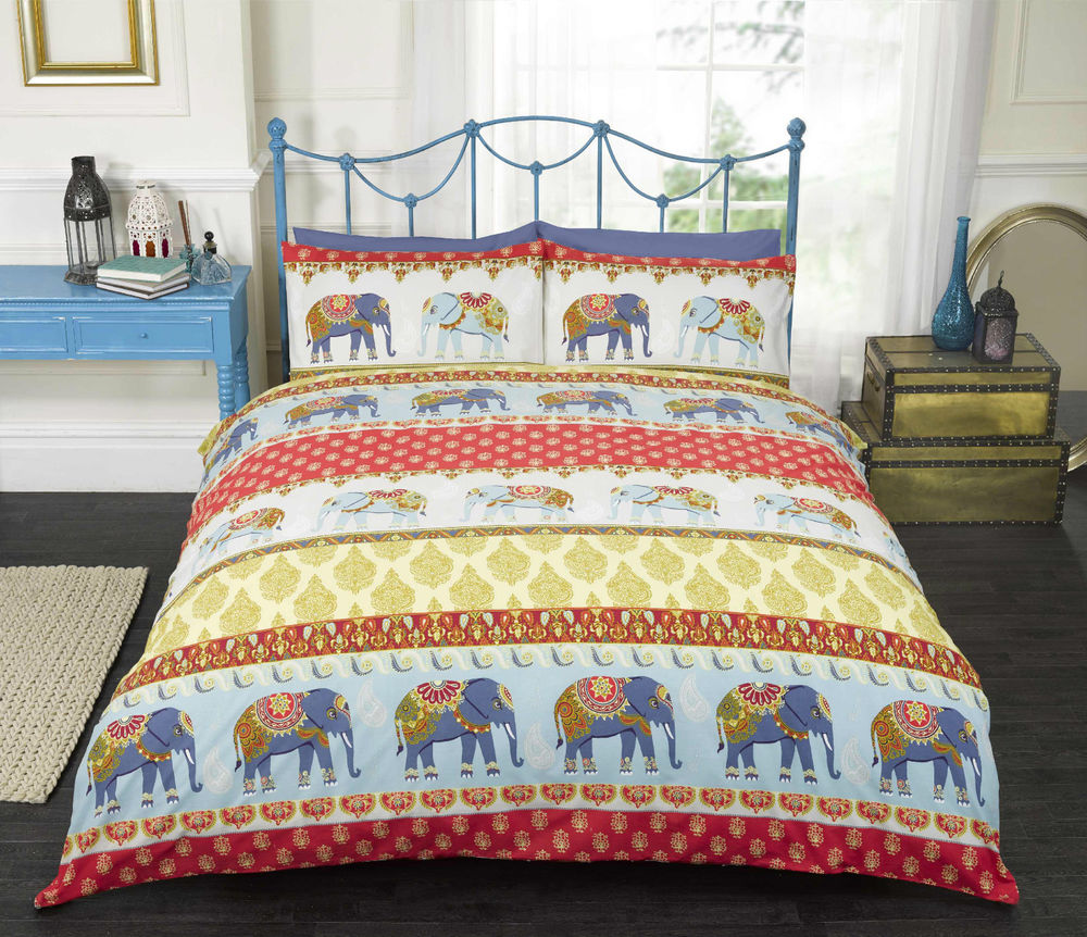 jaipur bedding - elephant design duvet cover bedding set in blue or red single