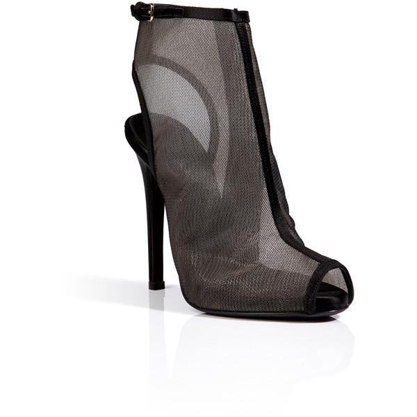 GIAMBATTISTA VALLI Mesh Peep-Toe Ankle Boots in Black