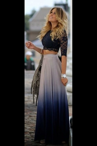 ombre blue skirt blue style lace top lace up skirt long skirt maxi skirt boho boho chic boho shirt girly hippie cute skirts cute summer outfits summer dress shirt