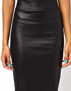 River Island | River Island Honeycombe Wet Look Tube Skirt at ASOS