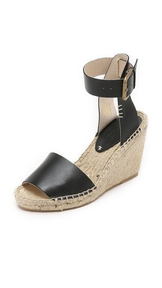 open espadrilles leather black shoes