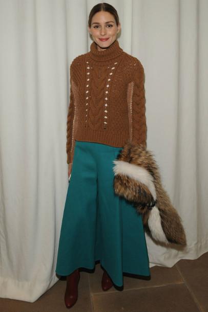 pants wide-leg pants fashion week 2015 fur scarf olivia palermo scarf