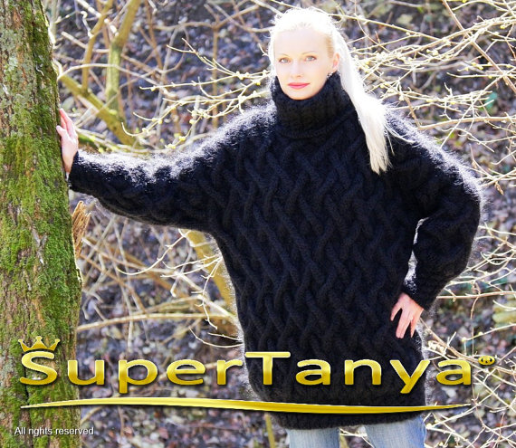 Extra thick hand knitted black mohair sweater with by supertanya