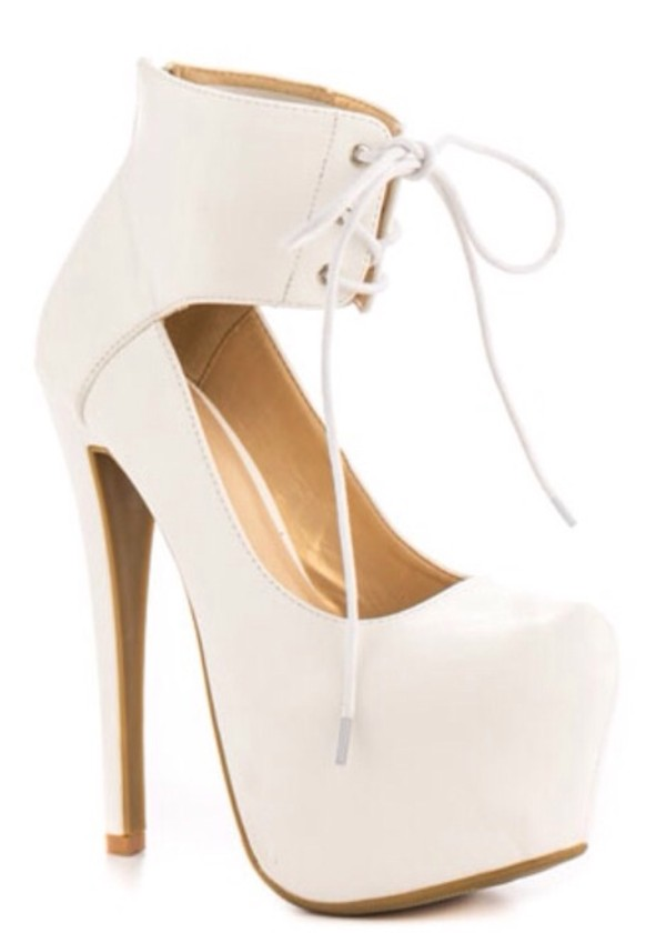 shoes high heels white