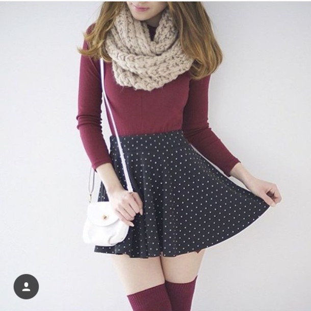 skirt scarf top knee high socks wheretoget