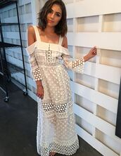 dress,white,white dress,maxi dress,lace dress,olivia culpo,instagram,off the shoulder dress,summer dress,summer outfits,long sleeve lace dress,bell sleeve dress