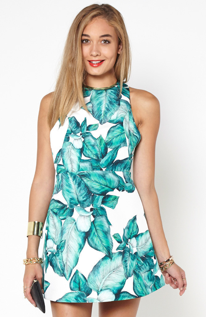"Chic ""warm thought"" leaf print skater dress – glamzelle"