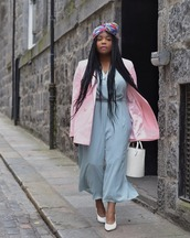jacket,blazer,jumpsuit,blue jumpsuit,pink blazer,head scarfs,shoes,bag