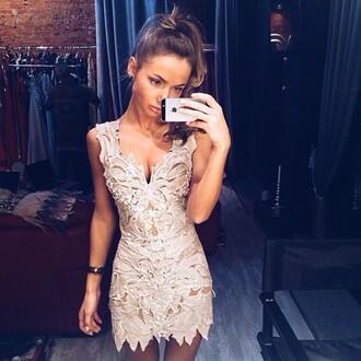 girl beautiful make-up fashion inspo glitter elegant brunette streetwear dress lace dress nude dress