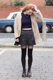hannah louise fashion,blogger,checkered,knee high socks,fuzzy coat,soft grunge,coat,sweater,skirt,socks,shoes,beige fluffy coat,teddy bear coat,beige fur jacket