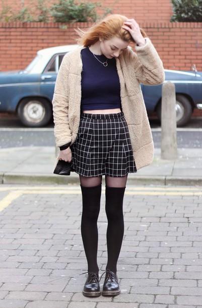 hannah louise fashion blogger checkered knee high socks fuzzy coat soft grunge coat sweater skirt socks shoes beige fluffy coat teddy bear coat