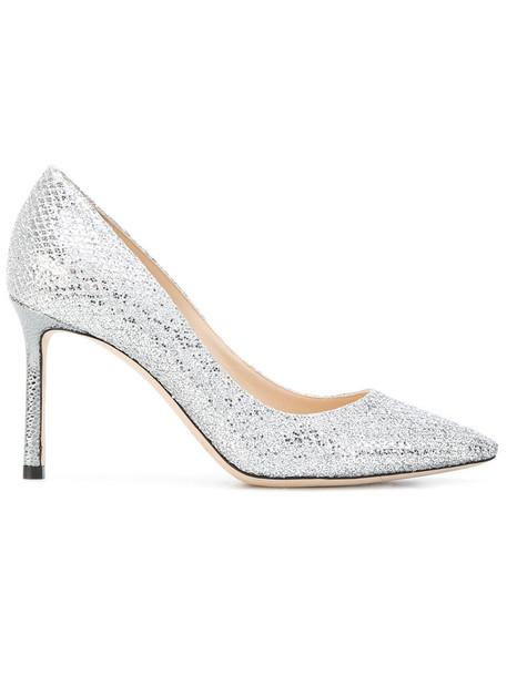 women pumps silver leather grey metallic shoes