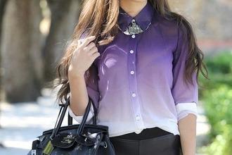 shirt purple blouse purpel button up ombre