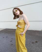 top,tumblr,yellow,yellow top,double3xposure,pants,high waisted pants,belt,sunglasses,cat eye