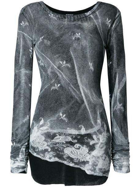 ANN DEMEULEMEESTER top printed top women cotton grey