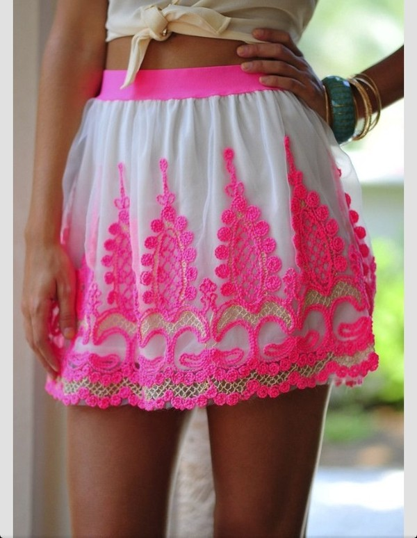skirt pink summer skirt neon pink lace hot pink skirt neon pink design pink skirt pink lace skirt hot pink shirt love this any one no wear i can get it