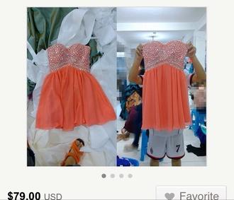 dress coral dress orange dress formal dress formal party dresses short party dresses short prom dress short dress studded top coral homecoming