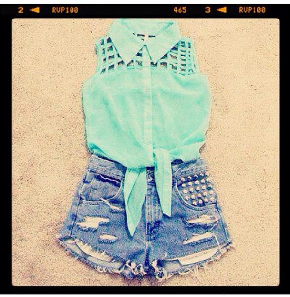blouse mint blue
